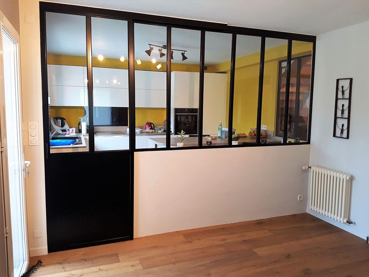 Porte Separation Salon Cuisine verrière interieure sur-mesure | métallerie martin